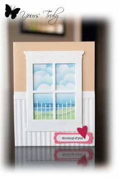 By YoursTruly at Splitcoaststampers. Uses small Madison Window die and a fence die. Uses Darice stripes embossing folder for the wainscotting look. Card Making Inspiration, Making Ideas, Window Cards, Embossed Cards, Marianne Design, Get Well Cards, Card Patterns, Scrapbook Cards, Scrapbooking