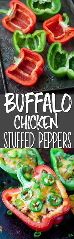 Break out the hot sauce and grab some bell peppers, were making Cheesy Buffalo Chicken and Veggie Stuffed Peppers for dinner! Veggie Stuffed Peppers, Buffalo Chicken Stuffed Peppers, Buffalo Chicken Tacos, Buffalo Chicken Recipes, Low Carb Recipes, Cooking Recipes, Healthy Recipes, Healthy Meals, What's Cooking
