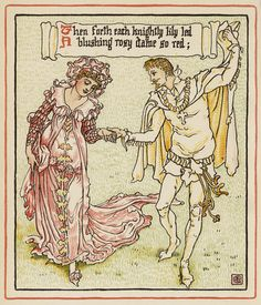 Then forth each knightly lily led ...', from Walter Crane's 'Queen Summer, or the Tourney of the Lily & the Rose', London [&c.]: Cassell & C...