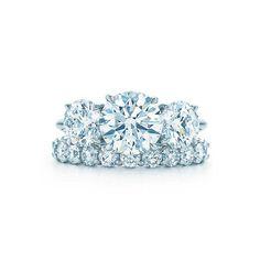 Tiffany & Co. Round Brilliant Three Stone + Shared Setting Band http://www.stylemepretty.com/2016/07/13/engagement-ring-wedding-band/