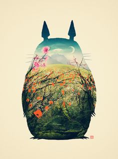 """This would be great in a childrens room or nursery. Or anywhere! :D Posterocalypse: Poster Per Diem: Victor Vercesi's """"Tonari no Totoro"""" Art Print"""