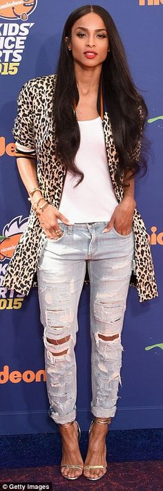 Ciara supports Russell Wilson at Kids' Choice Sports Awards in LA #dailymail