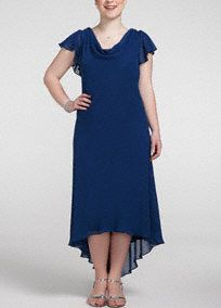 Timeless, classic and chic, you will have unexpected appeal in this lovely dress!  Flutter sleeve and drape neckline is elegant and stylish,  Eye catching back brooch detail add a touch of sparkle to this already stunning dress.  Sheer overlay gives a high-low effect which is right on trend.  Fully lined. Imported polyester. Dry clean only.