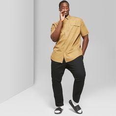 Men's Big & Tall Short Sleeve Long Line Button-Down Shirt - Original Use Dapper Brown 4XBT