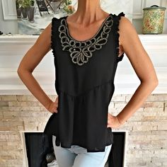 Beautiful ruffled rank with gold embroidery! Stunning fit! Must have -lightweight with gorgeous intricate design! 1 Medium Left! Tops Tank Tops