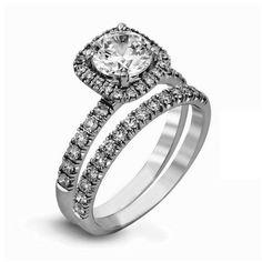 halo 925 sterling silver ring engagement wedding band round cz bridal women set #silverstargemsjewelry #HaloBridalSet