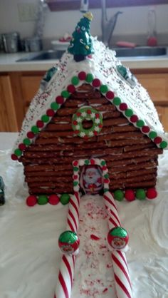 Log cabin gingerbread house that I made