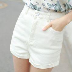 Women denim shorts 2017 spring and summer teenager girls loose roll-up hem white high waist plus size female shorts black