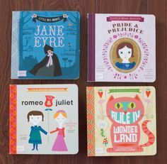 Board Book Classics for kids. Pride and Prejudice, Jane Eyre, Alice in Wonderland, Romeo and Juliet