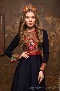 Платье в Русском стиле, женственное платье в макси и миди длине. Эксклюзивное платье, платье в Санкт-Петербурге, в наличии и индивидуальный пошив. Платье от August van der Walz.