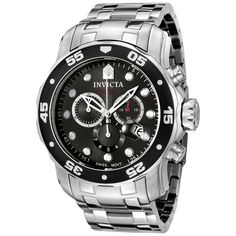 Invicta Men's 0070 Pro Diver Collection Chronograph Stainless Steel Watch - - With the right watch, it's no bother counting the minutes. Never mind the unique cuff-style band, but the face—that's really s Sport Watches, Cool Watches, Watches For Men, Men's Watches, Jewelry Watches, Retro Watches, Stylish Watches, Vintage Watches, Patek Philippe