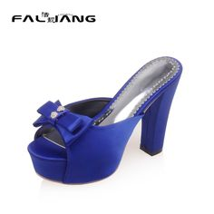Womans Summer Shoes 2017 Sexy Butterfly-knot Platform Square heel Womens Shoes Size 11 Extreme High Heels Slippers