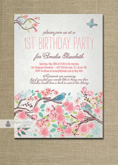 Bloom Bird Birthday Invitation Garden Party Floral Baby Girl First Birthday Pink Milestone Invite DIY Printable or Printed - Amelie Style. $20.00, via Etsy.