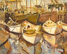 """""""Gloucester Seine Boats,"""" Dennis Poirier, oil on canvas, 24 x 30"""", private collection."""