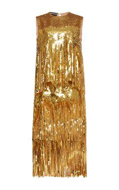 Sleeveless Sequin Fringe Dress by ROCHAS for Preorder on Moda Operandi