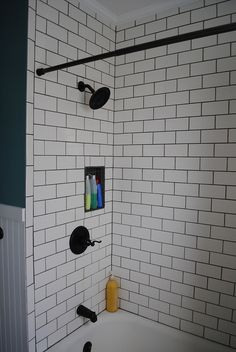 Subway Tile bathroom, dark grout and fixtures does this look work?? It does in my head, but maybe not....