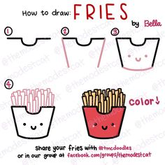How to Draw Cute Fries. Easy doodle tutorial with Bella at themodestcat.com