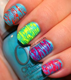 Damn this looks cool! Neon Nails, Love Nails, How To Do Nails, Pretty Nails, My Nails, Nail Art Techniques, Fancy Nails, Cute Nail Designs, Fingernail Designs
