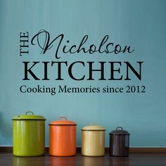 Personalized Decal for your Kitchen - Cooking Memories by StephenEdwardGraphic