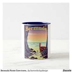 Bermuda Pirate Cave travel poster Two-Tone Coffee Mug