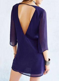 Women's V Neck 3/4 Sleeve Backless Chiffon Mini Dress - OASAP.com