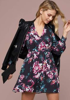 dc133551a7a7 Black and Pink Floral Long Puff Sleeves Mini Dress - This pretty black and  pink floral dress is perfect for work with its nice puff sleeves and ...