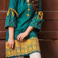 Trends and vibrancy blended together on the finest Cambric threads for your harmonised look of the season ♥️✨ Be ready to have your hands… Kurti Sleeves Design, Kurta Neck Design, Sleeves Designs For Dresses, Dress Neck Designs, Simple Pakistani Dresses, Pakistani Fashion Casual, Pakistani Dress Design, Pakistani Outfits, Stylish Dresses For Girls