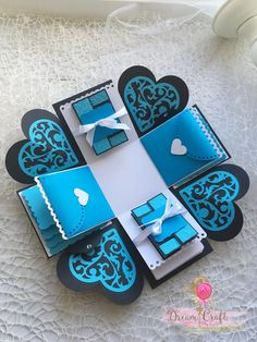 Blue Explosion box perfect gift for Birthday, Anniversary, V… – Valentine's Day Diy Gift Box, Diy Box, Diy Gifts, Empty Gift Boxes, Photo Boxes, Valentines Day Presents, Exploding Boxes, Explosion Box, Pretty Cards