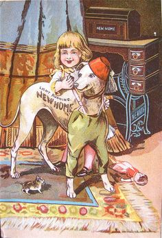 Antique Trade Card for New Home Sewing Machines Girl Dressing Up Her Dog