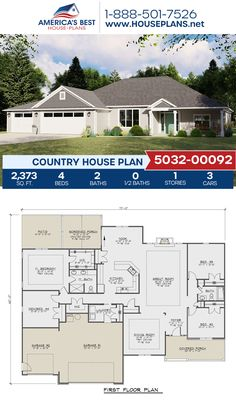 A Country home design, Plan 5032-00092 details 2,373 sq. ft., 4 bedrooms, 2 bathrooms, a breakfast nook, an open floor plan, and a screened-in porch. #architecture #houseplans #housedesign #homedesign #homedesigns #architecturalplans #newconstruction #floorplans #dreamhome #dreamhouseplans #abhouseplans #besthouseplans #newhome #newhouse #homesweethome #buildingahome #buildahome #residentialplans #residentialhome