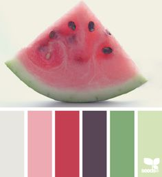 watermelon hues - love this, because I have just a few pink and purple accent pieces I want to live in this room.