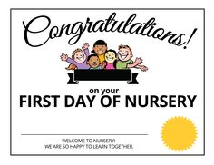 First Day of Nursery Certificate