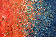 Solstice - Abstract Acrylic Painting on Canvas - Orange & Blue Abstract Acrylic Painting
