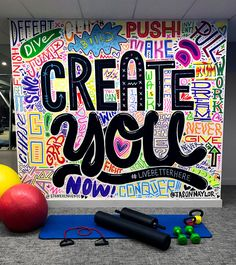 art illustration Jason NAYLOR jasonnaylor jnay NAYLOR The biggest most important thing that you will ever create is yourself. - mural for gyms! Art by Jason Naylor jason jason naylor naylor art Class Decoration, School Decorations, School Murals, Art School, Graffiti Art, Mural Art, Wall Murals, Stonehenge Nyc, Classe D'art