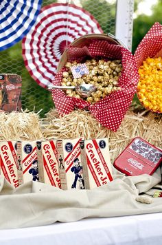 Cracker Jack Snack Bar & more ideas! KarasPartyIdeas.com - The place for all things party! parti accessori, cracker jack, theme parti, thing parti, 4th of july, jack theme, jack snack, baseball themed snacks, snack bars