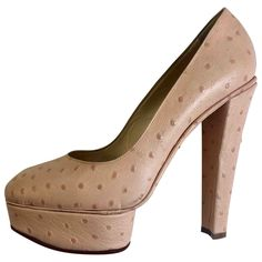 Ostrich heels Charlotte Olympia Pink size 40 EU in Ostrich - 6504256 Charlotte Olympia, Platform Shoes, Luxury Consignment, Oysters, Peep Toe, Shoes Heels, Pink, Leather, Stuff To Buy
