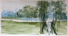 Paysage, aquarelle par Annie Collette Annie, Painting, Art, Paint, Painting Art, Paintings, Kunst, Draw, Art Education