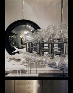 Lustre en verre soufflé - Puces de Saint-Ouen : le shopping déco de Laura Gonzalez  - Elle Décoration