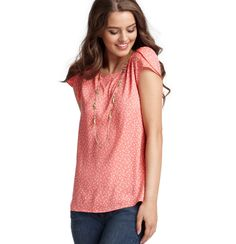 Loft - LOFT Tops - Flower Print Button Back Tulip Sleeve Tee... Simple but chic. Can wear to work or date night