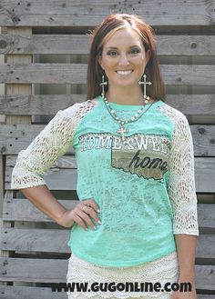 Home Sweet Homa Mint Baseball Burnout Tee with Ivory Lace Sleeves $28.95 www.gugonline.com