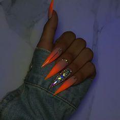 ♛ ͢ - Long Nail Designs - Bling Acrylic Nails, Bright Summer Acrylic Nails, Aycrlic Nails, Best Acrylic Nails, Hair And Nails, Acrylic Nail Designs For Summer, Ongles Bling Bling, Bling Nails, Fancy Nails