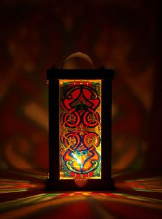 Celtic candle holder 1 - glass painting