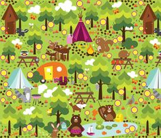 Camping in the Summer fabric by oliveandruby on Spoonflower - custom fabric