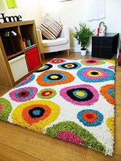 NEW BRIGHT VIBRANT COLOURFUL THICK SHAGGY RUGS FUNKY MODERN RETRO MATS (80 X 150CM): Amazon.co.uk: Kitchen & Home