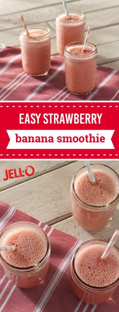 Easy Strawberry Banana Smoothie – In just 10 minutes you can enjoy your favorite fruit flavor combination—strawberry and banana—as a breakfast time treat or sweet snack idea. Check out the full recipe to save this dish for whenever you need something that's as quick as it is tasty!