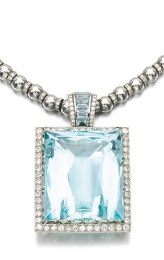 AQUAMARINE AND DIAMOND PENDENT NECKLACE, HEMMERLE The pendant designed as a step-cut aquamarine within a frame of circular-cut diamonds, the surmount similarly set, suspended from a necklace accented with brilliant-cut diamond rondelles, length approximately 405mm, maker's mark.