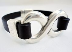 Leather Bracelet for men for woman silver by mitallerdenubes, €18.00