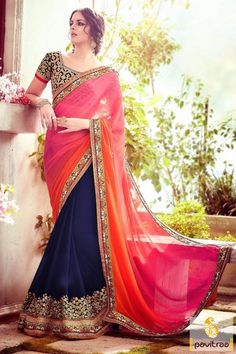 A set up to high royal style with trendy pink color designer wedding saree with price. Alluring party wear saree designed with heavy embroidery work and lace patti work. #saree, #designersaree more: http://www.pavitraa.in/catalogs/reception-sarees-for-indian-bride/