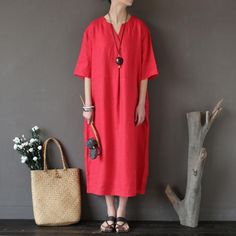 Loose Linen Distressed Women Casual Red Dress