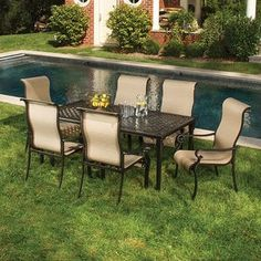 Outfit your veranda or patio for alfresco entertaining with this essential set, the perfect gathering spot for cocktail and conversation. This set includes a large, rectangle-shaped dining table with six slin #large #rectangle #includes